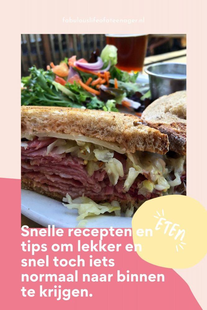 Snelle recepten en tips om lekker en snel toch iets normaal naar binnen te krijgen.